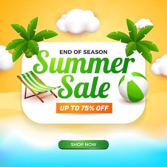 Banner di saldi estivi con lavagna bianca ed elemento di cartone animato 3d