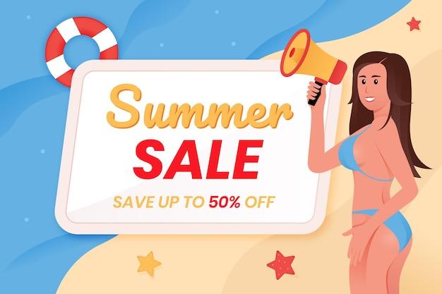 Banner di saldi estivi con donna che indossa bikini che tiene megafono