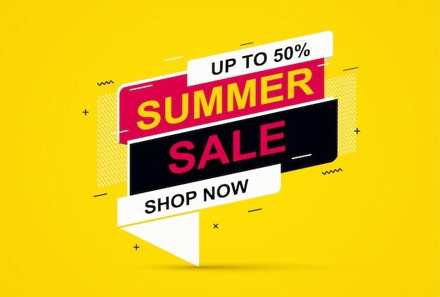 Banner di saldi estivi su sfondo giallo. banner di offerta speciale, sconti in vendita.