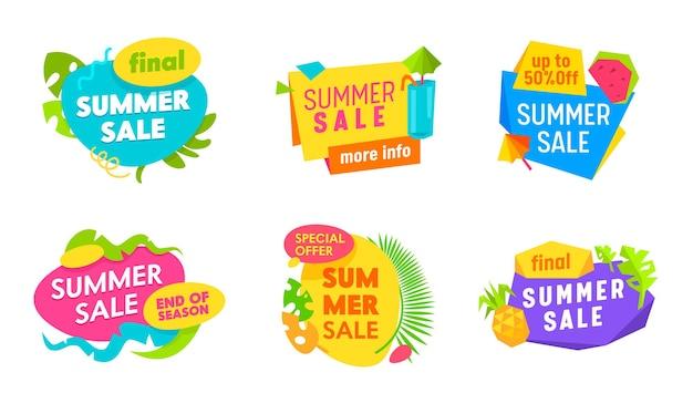 Banner di saldi estivi con elementi astratti, foglie di palma e tipografia Vettore Premium