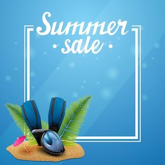 Saldi estivi, modello blu per le tue arti con cornice e posto per il testo