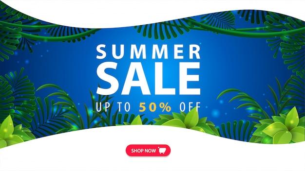 Saldi estivi, banner web sconto blu e bianco per il tuo sito web con cornice giungla tropicale, ampia offerta, pulsante e linee morbide