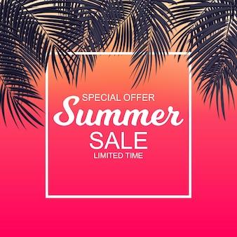 Fondo di concetto di vendita di estate con le foglie di palma. illustrazione vettoriale eps10
