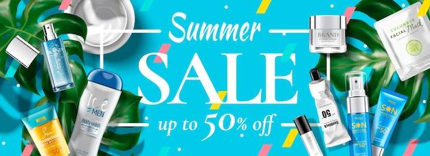Banner pubblicitari cosmetici di vendita estiva con prodotti in prospettiva piatta