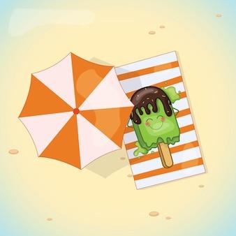 Il design dei saldi estivi con il gelato è rilassante sulla spiaggia