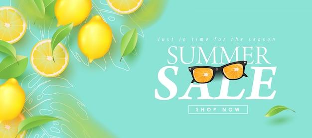 Progettazione di vendita di estate con le insegne tropicali tropicali della disposizione del fondo del limone. modello di illustrazione.