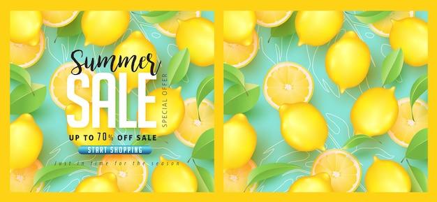 Progettazione di saldi estivi con modello astratto tropicale di limone.