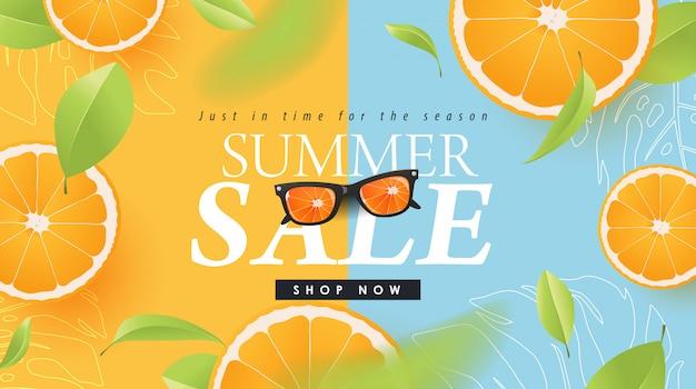 Progettazione di vendita di estate con le insegne astratte tropicali arancio della disposizione del fondo. modello di illustrazione.