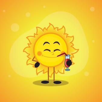 Design di saldi estivi con il personaggio dei cartoni animati del sole che beve succo