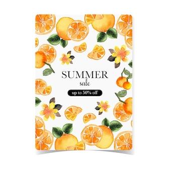 Saldi estivi flayer con sfondo di frutti tropicali