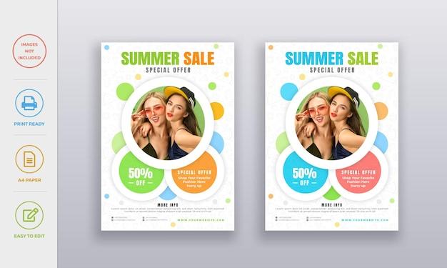 Modello di progettazione del manifesto del volantino dei saldi estivi con l'icona estiva piatta sullo sfondo