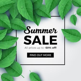 Fondo delle foglie verdi di vendita di estate