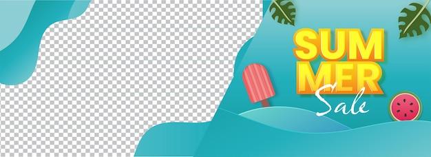 Design di intestazione o banner di vendita estiva con fetta di anguria