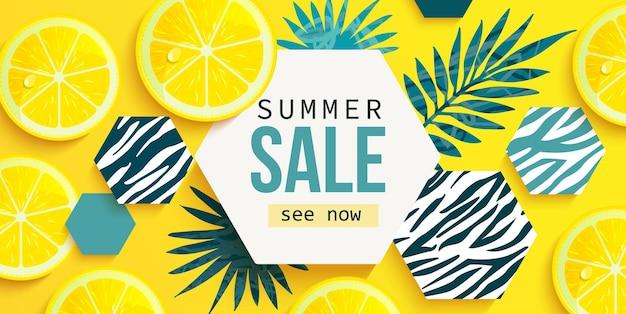 Banner orizzontale di saldi estivi con limone fresco