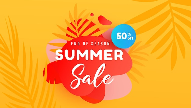 Illustrazione di vendita di estate con banner di promozione del fondo del modello delle foglie tropicali