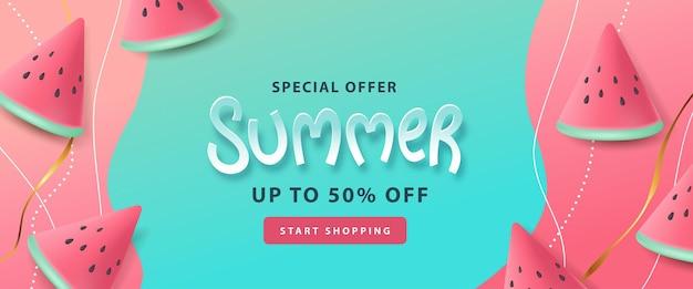 Banner di poster di layout di vendita estiva con il concetto di anguria