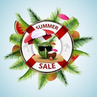 Saldi estivi, banner di sconto moderno sotto forma di un salvagente con decorazioni di mare