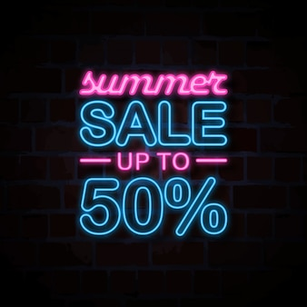Illustrazione del segno di stile al neon di vendita di estate