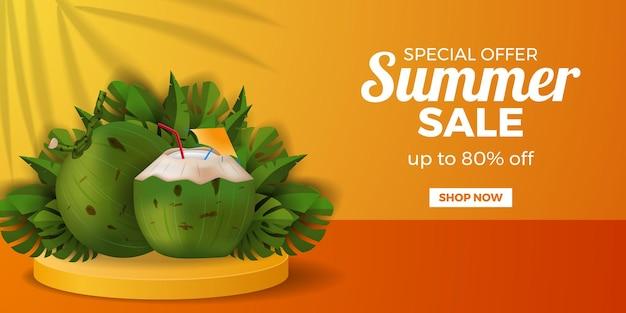 Modello di banner offerta saldi estivi con bevanda al cocco realistico con foglie tropicali