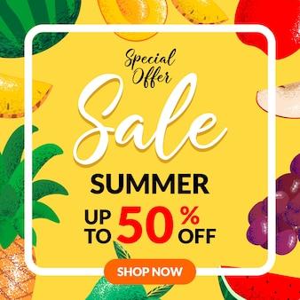 Insegna di forma del profilo di vendita di estate con pezzi di frutta