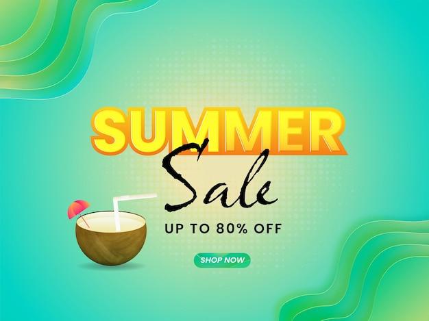 Design di poster o striscioni per saldi estivi con offerta di sconto dell'80% e bevanda al cocco