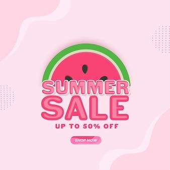 Design di poster per saldi estivi con offerta di sconto del 50% e fetta di anguria