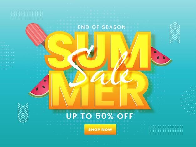 Design del poster dei saldi estivi con un'offerta di sconto del 50%, fette di anguria e gelato
