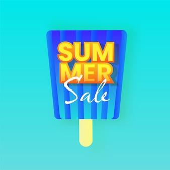 Design del manifesto dei saldi estivi con bastoncino di gelato