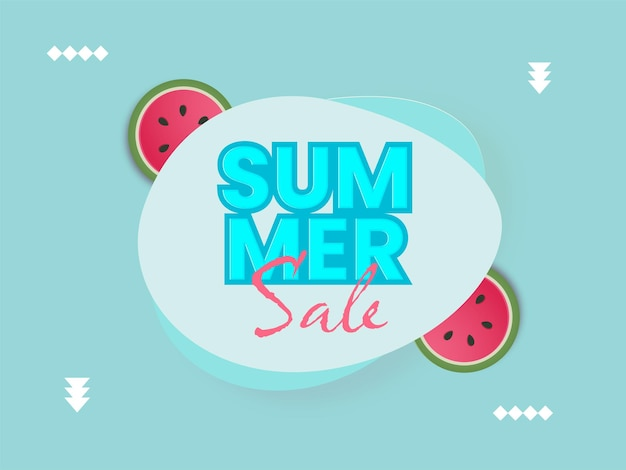 Design di poster di vendita estiva con fetta di anguria