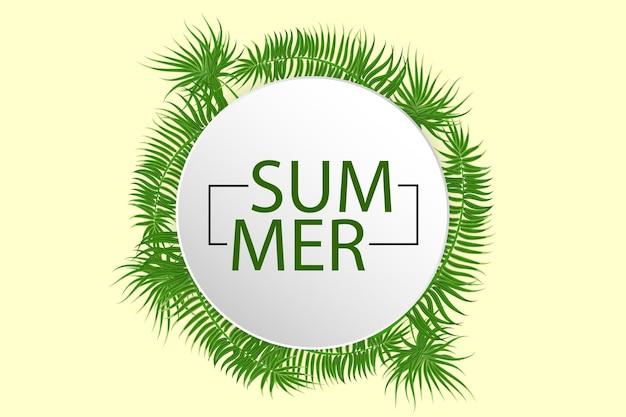 Manifesto di vendita di estate fondo tropicale foglia di palma di vettore albero esotico della giungla verde di estate