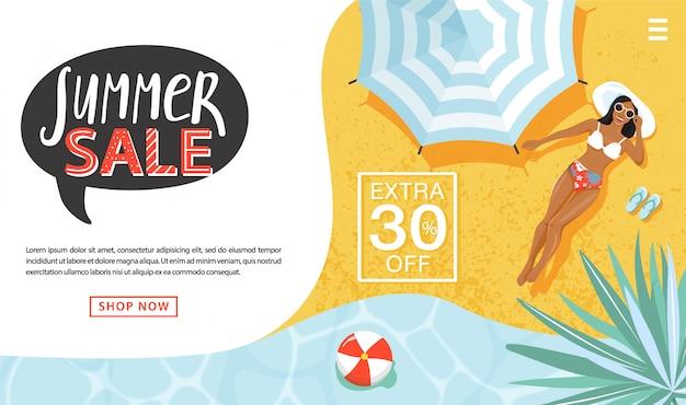 Concetto di promozione di vendita estiva. modello di pagina di destinazione. donna che prende il sole, ombrellone, anelli gonfiabili, superficie del mare, scritte e foglie per le vendite stagionali. illustrazione vettoriale per offerta di sconto.