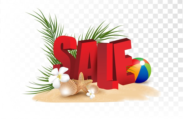 Promozione di saldi estivi shopping, promozioni estive, vacanze al mare, banner modello web sfondo stile 3d