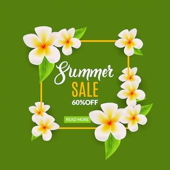 Manifesto promozionale di saldi estivi con fiori. cornice di vendita sconto estate
