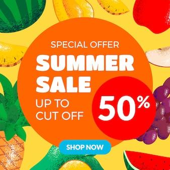 Saldi estivi banner rotondo con pezzi di frutta