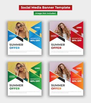 Modello di post di social media vendita estate Vettore Premium