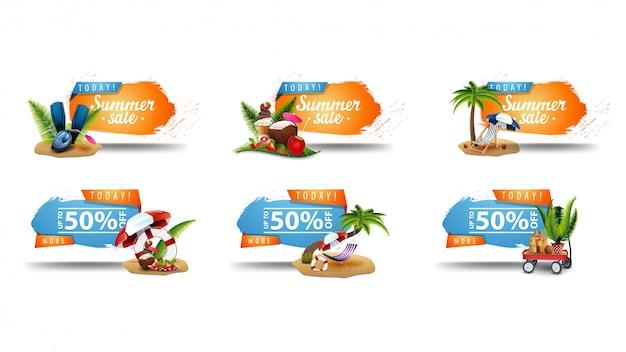 Saldi estivi, fino al 50% di sconto, striscioni cliccabili blu e arancione di grande collezione con angoli frastagliati e icone 3d estive