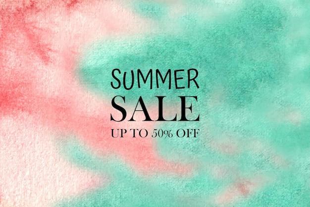 Fondo pastello dell'acquerello di saldi estivi dipinto a mano. macchie colorate acquarello su carta.