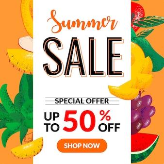 Insegna di forma bianca di vendita di estate con pezzi di frutta