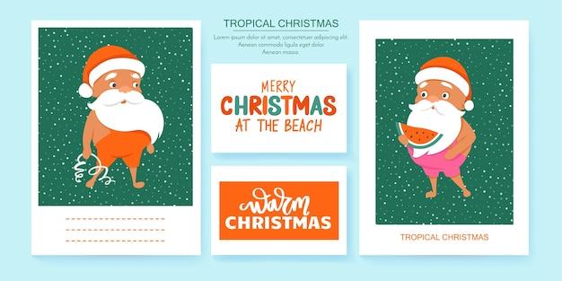 Cartoline d'auguri di babbo natale estivo. natale tropicale e felice anno nuovo in un clima caldo. simpatici poster di babbo natale.