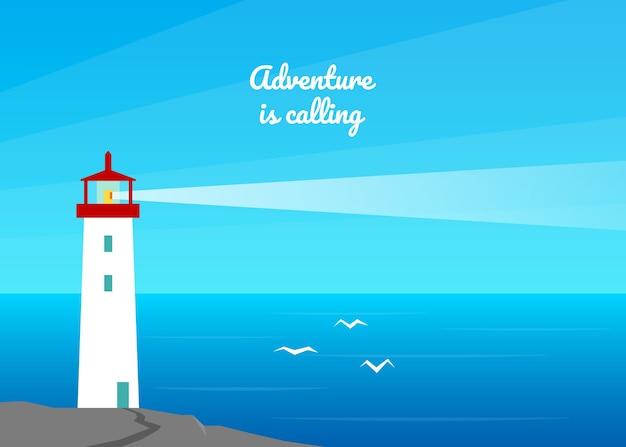 Priorità bassa di paesaggio del mare di estate. faro in riva al mare, oceano.