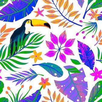 Modello senza cuciture di estate con le foglie tropicali disegnate a mano