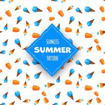 Reticolo senza giunte di estate con gelato su priorità bassa bianca. stile cartone animato. vettore.