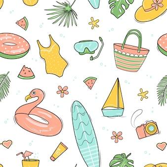 Modello senza cuciture di estate con cerchio gonfiabile fenicottero rosa, tavola da surf, macchina fotografica, foglie di palma. sfondo di doodle.