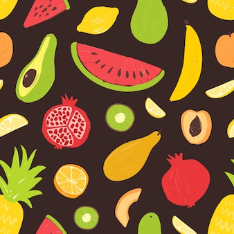 Modello senza cuciture di estate con frutti maturi organici tropicali