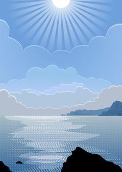 Vista sul mare di estate con il sole
