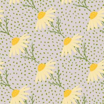 Modello senza cuciture stagione estiva con stampa margherite gialle scarabocchio