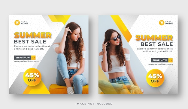 Modello di set di banner web post social media stagione estiva