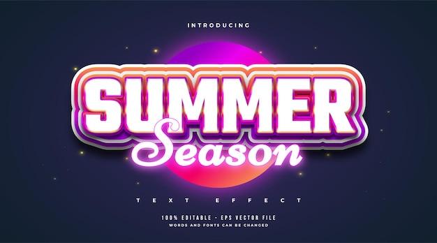 Testo della stagione estiva in stile colorato ed effetto neon luminoso. effetto di testo modificabile