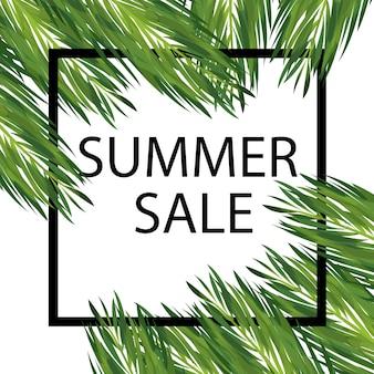 Insegna di vendita stagionale di estate con foglie di palma. post di social media floreali