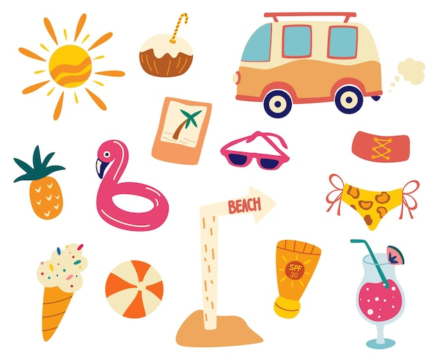 Set estivo, accessori da spiaggia. raccolta di cose estive. vacanze estive piatte, poster per le vacanze al mare con set di icone estive. concetto di festa in piscina. illustrazione di disegno del fumetto di vettore, stile alla moda.